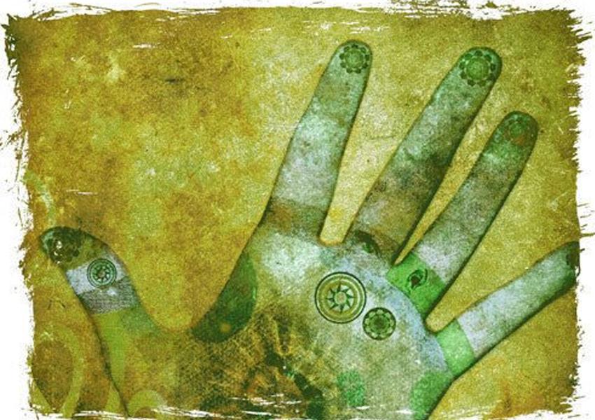 Os chakras das mãos são localizados na região central das